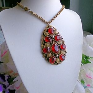 Art Deco Red Rhinestone Necklace
